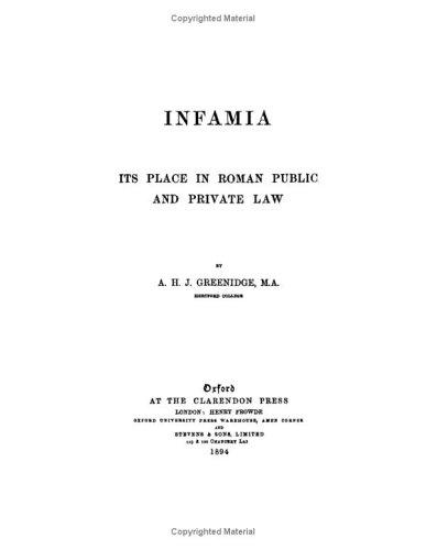 Infamia Its Place in Roman Public and Private Law