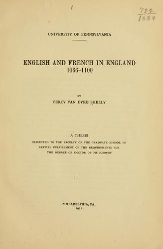 Download English and French in England, 1066-1100