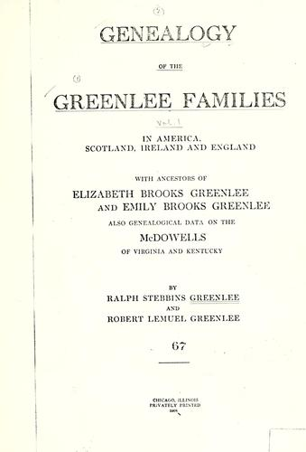 Genealogy of the Greenlee families