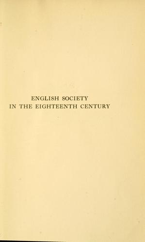 English society in the eighteenth century as influenced from oversea