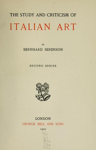 Download The study and criticism of Italian art