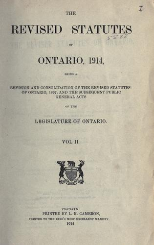 Download The revised statutes of Ontario, 1914