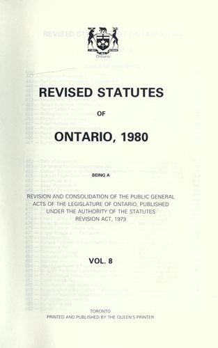 Revised statutes of Ontario, 1980
