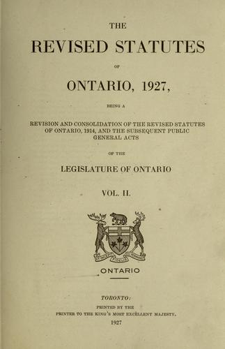 The revised statutes of Ontario, 1927