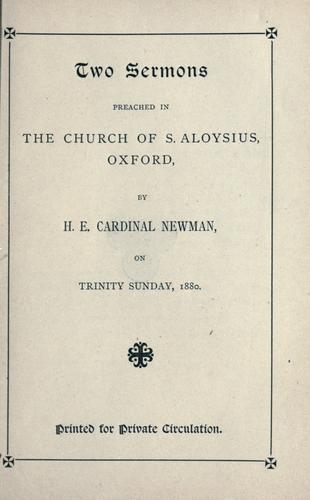 Two sermons preached in the Church of S. Aloysius, Oxford