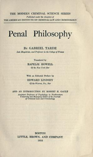 Download Penal philosophy.