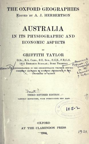 Download Australia in its physiographic and economic aspects.