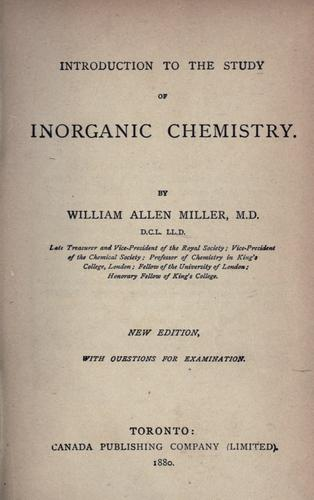 Introduction to the study of inorganic chemistry