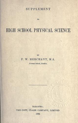Supplement to High School physical science.