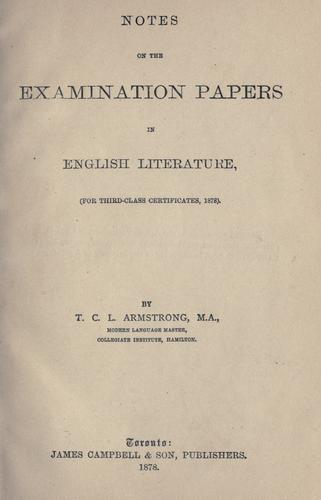 Notes on the examination papers in English literature