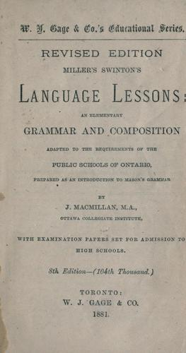 Download Miller's Swinton's language lessons