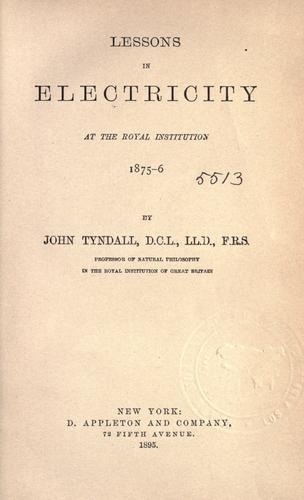 Download Lessons in electricity at the Royal Institution, 1875-6