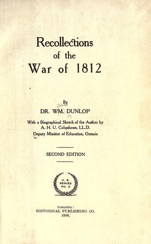 Recollections of the War of 1812.