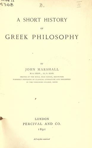 A short history of Greek philosophy.