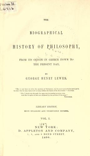 Download The biographical history of philosophy