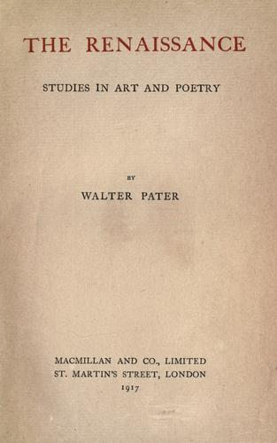 Download The renaissance; studies in art and poetry