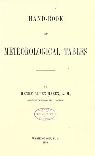 Hand-book of meteorological tables.