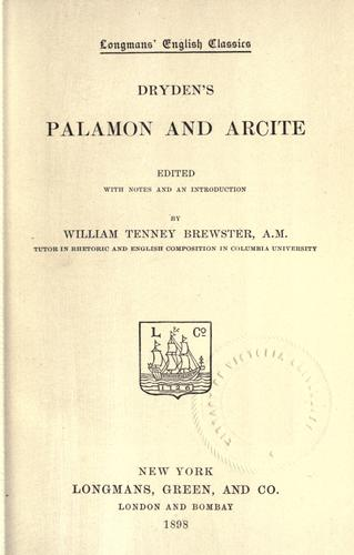 Dryden's Palamon and Arcite by John Dryden