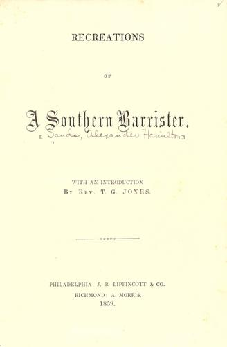 Recreations of a southern barrister