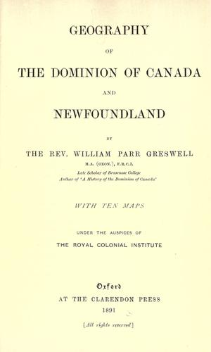 Download Geography of the Dominion of Canada and Newfoundland.
