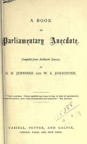 A book of parliamentary anecdote.