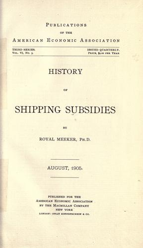 History of shipping subsidies