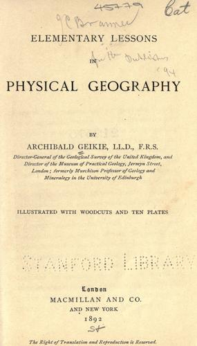Download Elementary lessons in physical geography