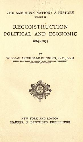 Download Reconstruction, political and economic, 1865-1877.