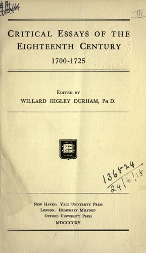 Download Critical essays of the eighteenth century, 1700-1725.