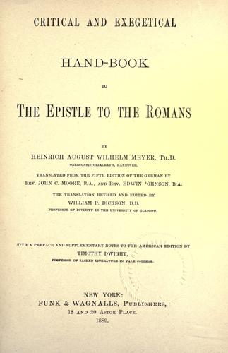 Critical and exegetical hand-book to the epistle to the Romans