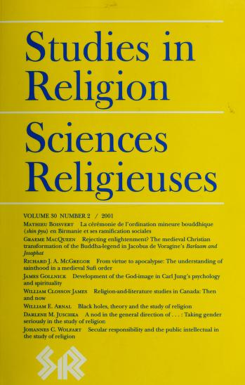 Cover of: Studies in religion   Corporation for the Publication of Academic Studies in Religion in Canada