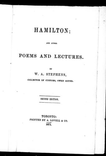 Hamilton and other poems and lectures by Stephens, W. A.