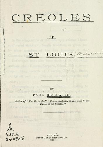 Creoles of St. Louis.