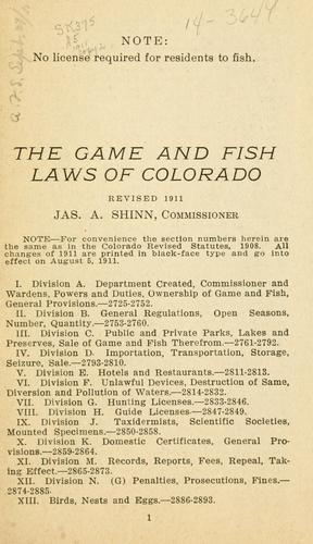 The game and fish laws of Colorado.