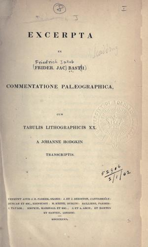 Excerpta ex Commentatione palaeographica by Friedrich Jakob Bast