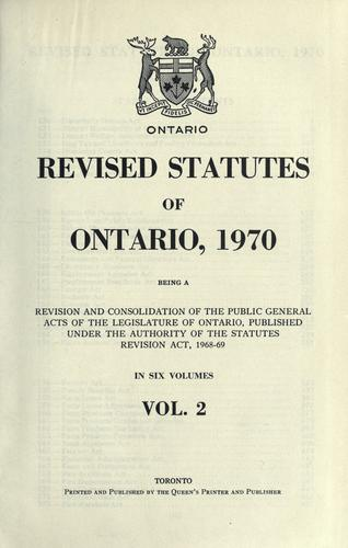 Revised statutes of Ontario, 1970