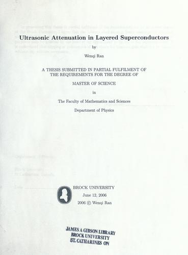 Ultrasonic attenuation in layered superconductors by Wenqi Ran