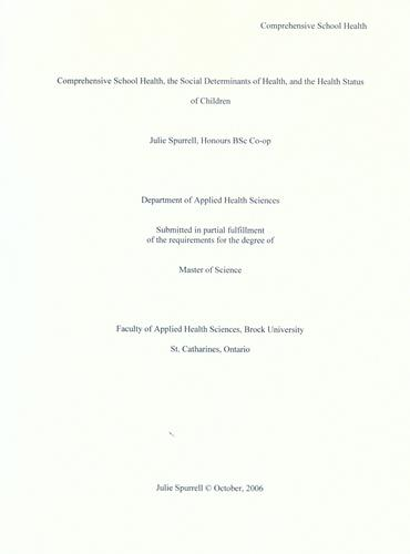Comprehensive school health, the social determinants of health, and the health status of children by Julie Spurrell