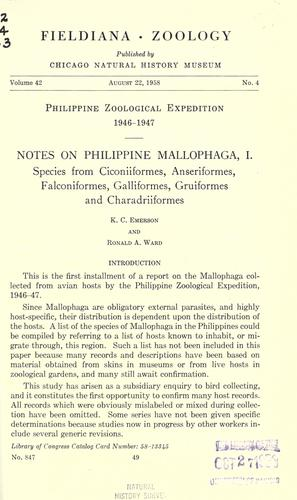 Notes on Philippine Mallophaga, I by K. C. Emerson
