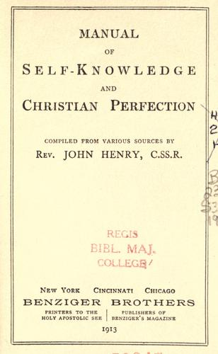 Manual of self-knowledge and Christian perfection by John Henry Schagemann