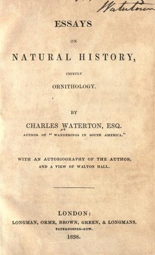 Essays on natural history, chiefly ornithology.