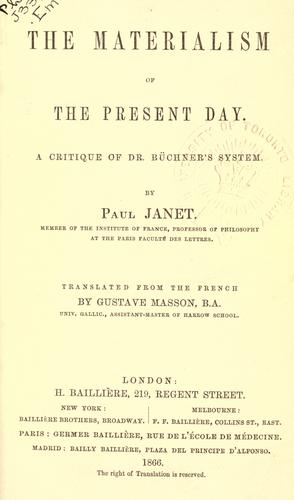 The materialism of the present day by Janet, Paul