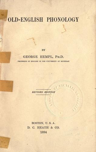 Old-English phonology by George Hempl