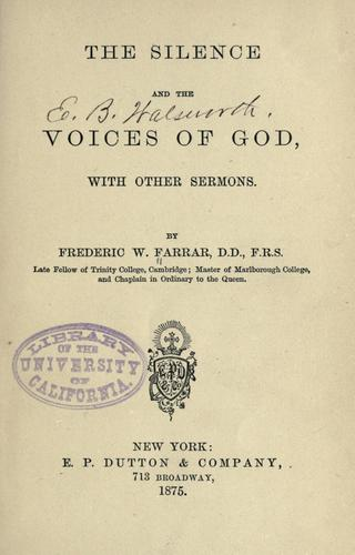 The silence and the voices of God by Frederic William Farrar