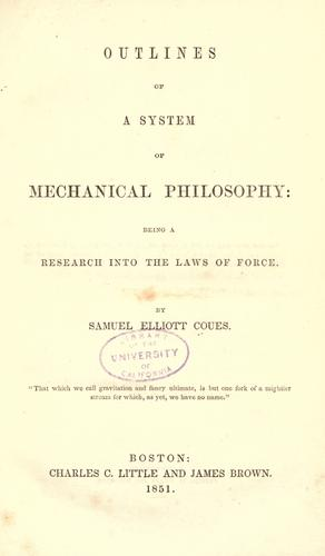 Outlines of a system of mechanical philosophy