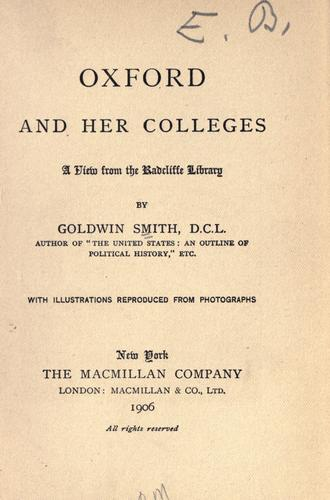 Oxford and her colleges by Goldwin Smith