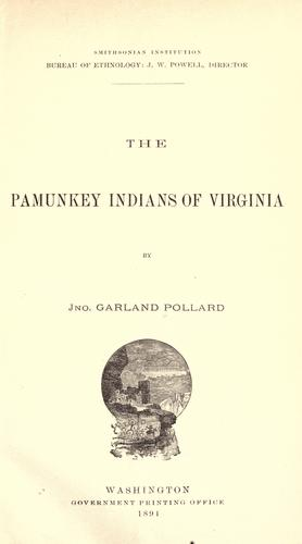 Pamunkey Indians of Virginia by