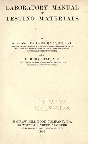Laboratory manual of testing materials by William Kendrick Hatt