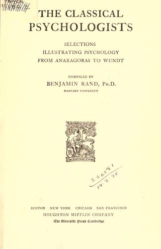 The classical psychologists by Benjamin Rand