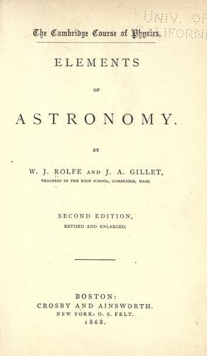Elements of astronomy by W. J. Rolfe